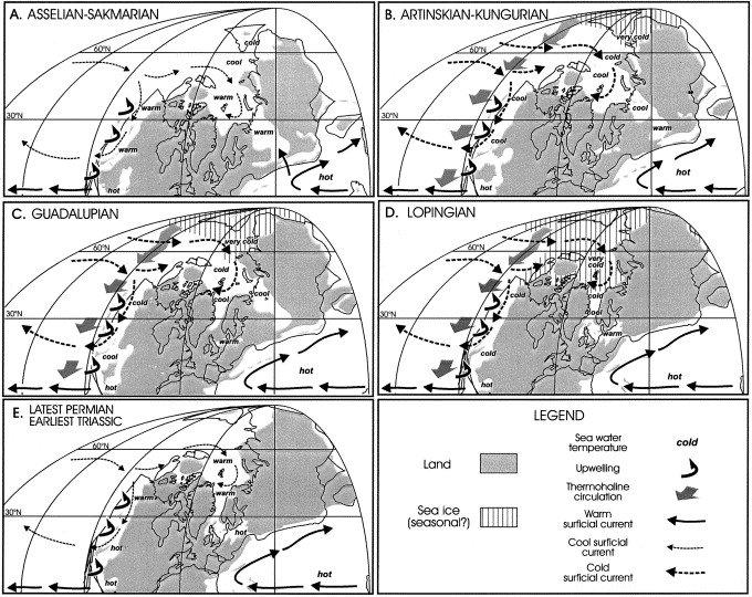 Ocean circulation patterns for